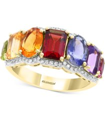 effy multi-gemstone (3-1/3 ct. t.w.) & diamond (1/5 ct. t.w.) statement ring in 14k gold