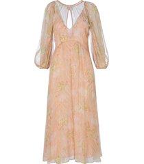 forte forte print lurex chiffon silk long dress