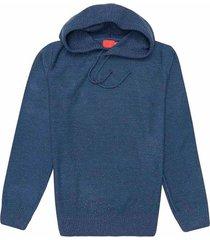 suéter cerrado en tono azul jaspeado con capota para joven 00357