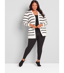 lane bryant women's striped long-sleeve open-front cardigan 22/24 black and white stripe