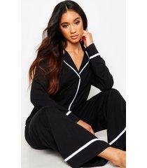 jersey pyjama met lange mouwen en knopen, zwart