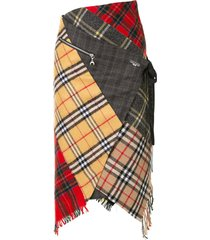 marine serre patchwork wool check skirt - multicolour