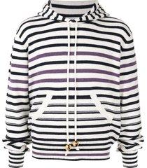 wales bonner breton stripe knitted hoodie - white