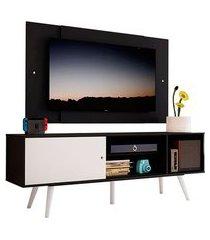 rack madesa cairo e painel para tv até 58 polegadas com pés de madeira preto/branco 7777 mdes0200187777