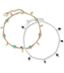 lucky brand two-tone 2-pc. set beaded stone ankle bracelets