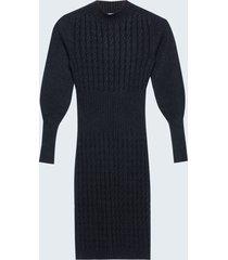 motivi vestito slim in maglia a trecce donna nero