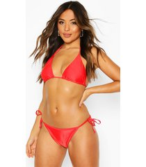petite mix & match triangle bikini top, red