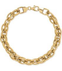 interwoven textured link bracelet in 14k gold