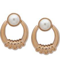 anne klein gold-tone imitation pearl doorknocker drop earrings
