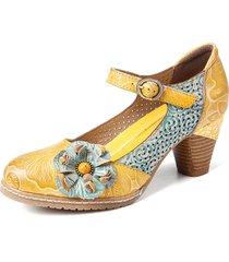 socofy décolleté con cinturino alla caviglia con fibbia in pelle floreale scarpe eleganti mary jane