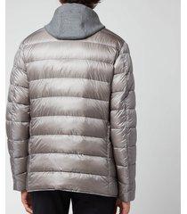 herno men's nylon ultralight + knit effect detachable hooded bib blazer - grey - 52/xl