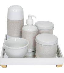 kit higiene espelho completo porcelanas, garrafa pequena e capa dourado quarto bebê unissex
