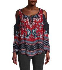 bila women's paisley cold-shoulder top - red multi - size m