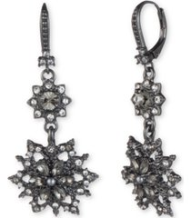 marchesa hematite-tone crystal & imitation pearl cluster double drop earrings