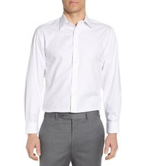 men's big & tall nordstrom men's shop tech-smart traditional fit stretch herringbone dress shirt, size 18 - 36/37 - white