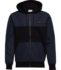 mix media zip through jacket hoodie trui blauw calvin klein