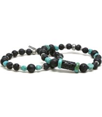 mr ettika raw lava stone and turquoise elastic beaded bracelet, pack of 2