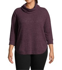 john paul richard plus size cowlneck rib-knit top