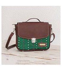 leather accent cotton shoulder bag, 'san rafael diamonds' (guatemala)