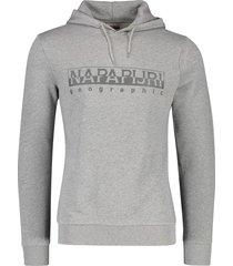 napapijri sweater hoodie grijs melange opdruk