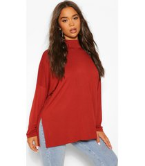 overszied high neck long sleeve top, terracotta