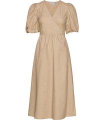 bibigz wrap dress hs20 knälång klänning beige gestuz