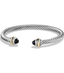 david yurman cable classics bracelet with semiprecious stones & 14k gold accent, 5mm, size medium in black onyx at nordstrom