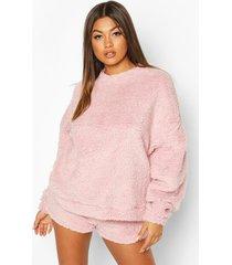 borg oversized sweatshirt, pastel pink