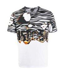 just cavalli camiseta decote careca com flamingo e logo - branco