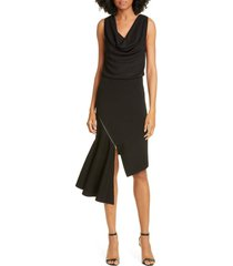 alice + olivia hollis cascade asymmetrical dress, size large in black at nordstrom