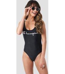 champion chest logo swimsuit - black,white