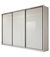 guarda roupa casal 3 portas de correr 6 gavetas spazio móveis lopas branco