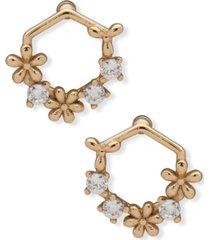 lonna & lilly gold-tone crystal & flower open stud earrings