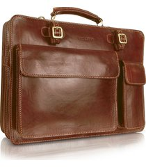 chiarugi designer briefcases, handmade brown genuine leather double gusset briefcase