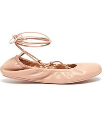 tie up round-toe leather ballerina flats