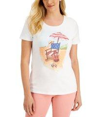 karen scott petite beach party t-shirt, created for macy's