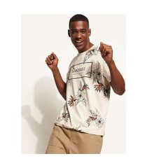 camiseta masculina estampada floral manga curta gola careca cinza mescla claro