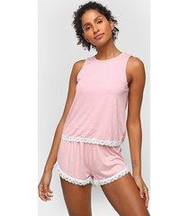 pijama curto hering renda regata + short feminino - feminino