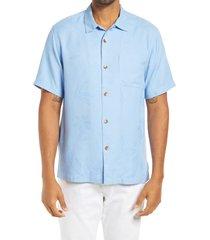 men's tommy bahama al fresco tropics classic fit silk shirt, size small - blue