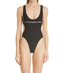 alexander wang cutout one-piece swimsuit, size medium in black at nordstrom