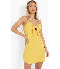 mini swing jurkje met strik, mustard