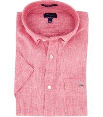 gant overhemd korte mouwen rood linnen