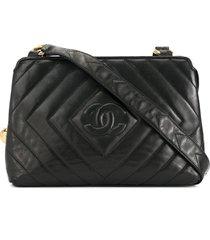 chanel pre-owned diamond cc stitch shoulder bag - black
