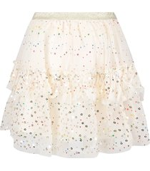 billieblush ivory tulle girl skirt with colorful polka-dots