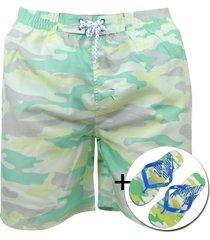 earthbound heren zwembroek met gratis slippers camouflage licht groen