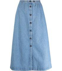 a.p.c. buttoned a-line cotton skirt - blue