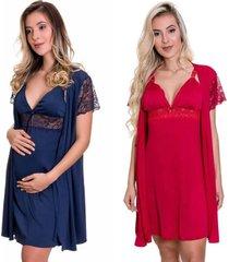 kit 2 camisolas amamentação com robe estilo sedutor 1 azul marinho e 1 vermelha - es206-207-v11