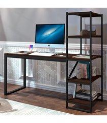 mesa para computador innovare 4 prateleiras preto/castanho - art panta