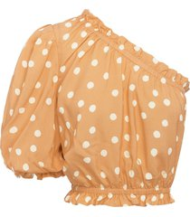 peony polka dots single-sleeved cropped top - neutrals