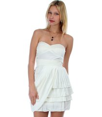 sexy juniors strapless ivory tiered draped party cruise club mini dress